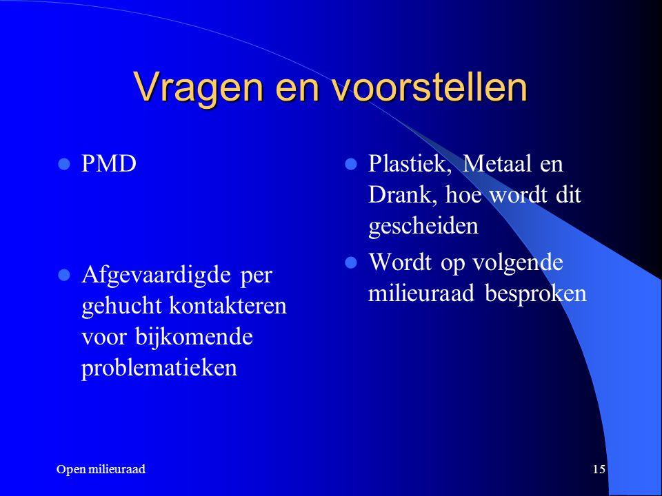 Open milieuraad15 Vragen en voorstellen PMD Afgevaardigde per gehucht kontakteren voor bijkomende problematieken Plastiek, Metaal en Drank, hoe wordt