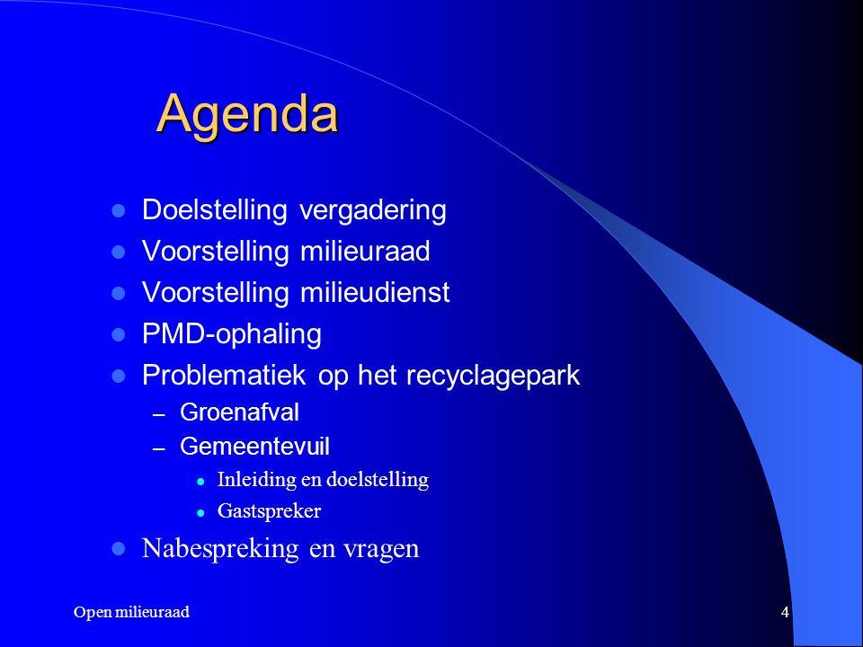 Open milieuraad4 Agenda Doelstelling vergadering Voorstelling milieuraad Voorstelling milieudienst PMD-ophaling Problematiek op het recyclagepark – Gr