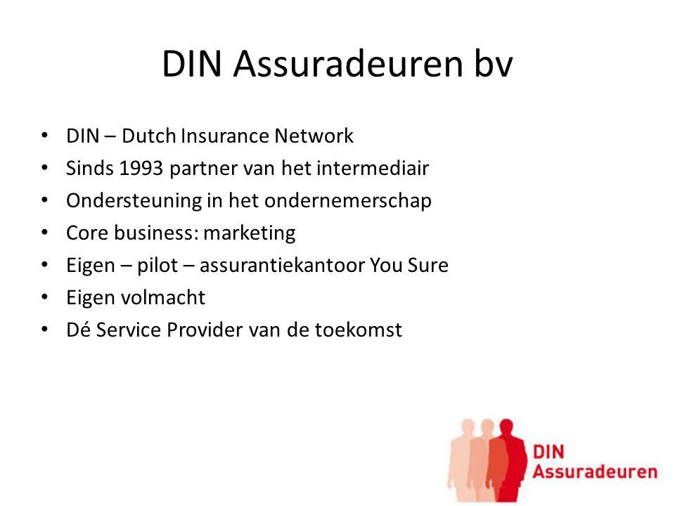 DIN Assuradeuren bv DIN – Dutch Insurance Network Sinds 1993 partner van het intermediair Ondersteuning in het ondernemerschap Core business: marketin