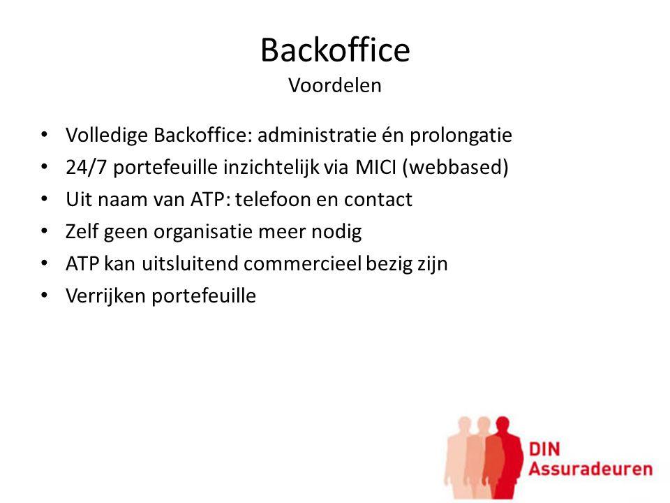 Backoffice Voordelen Volledige Backoffice: administratie én prolongatie 24/7 portefeuille inzichtelijk via MICI (webbased) Uit naam van ATP: telefoon