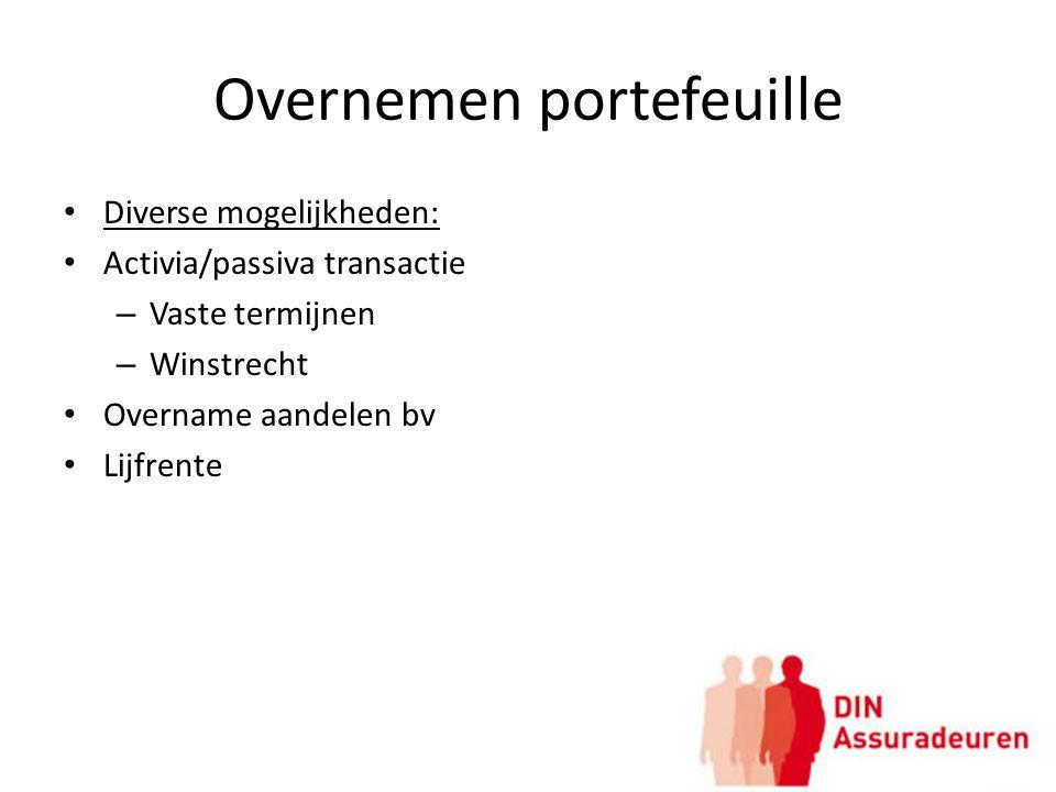 Overnemen portefeuille Diverse mogelijkheden: Activia/passiva transactie – Vaste termijnen – Winstrecht Overname aandelen bv Lijfrente
