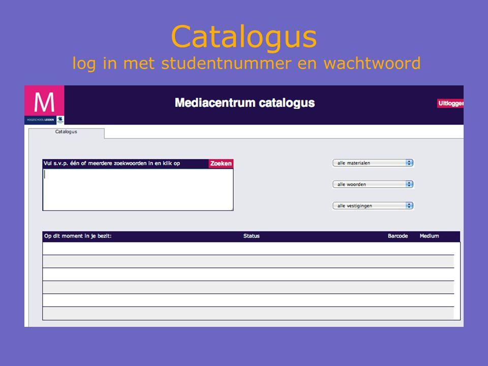 Catalogus log in met studentnummer en wachtwoord