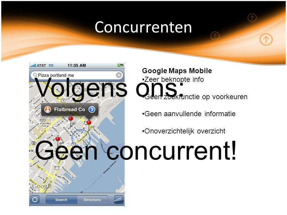 Concurrenten Google Maps Mobile Zeer beknopte info Geen zoekfunctie op voorkeuren Geen aanvullende informatie Onoverzichtelijk overzicht Volgens ons: Geen concurrent!