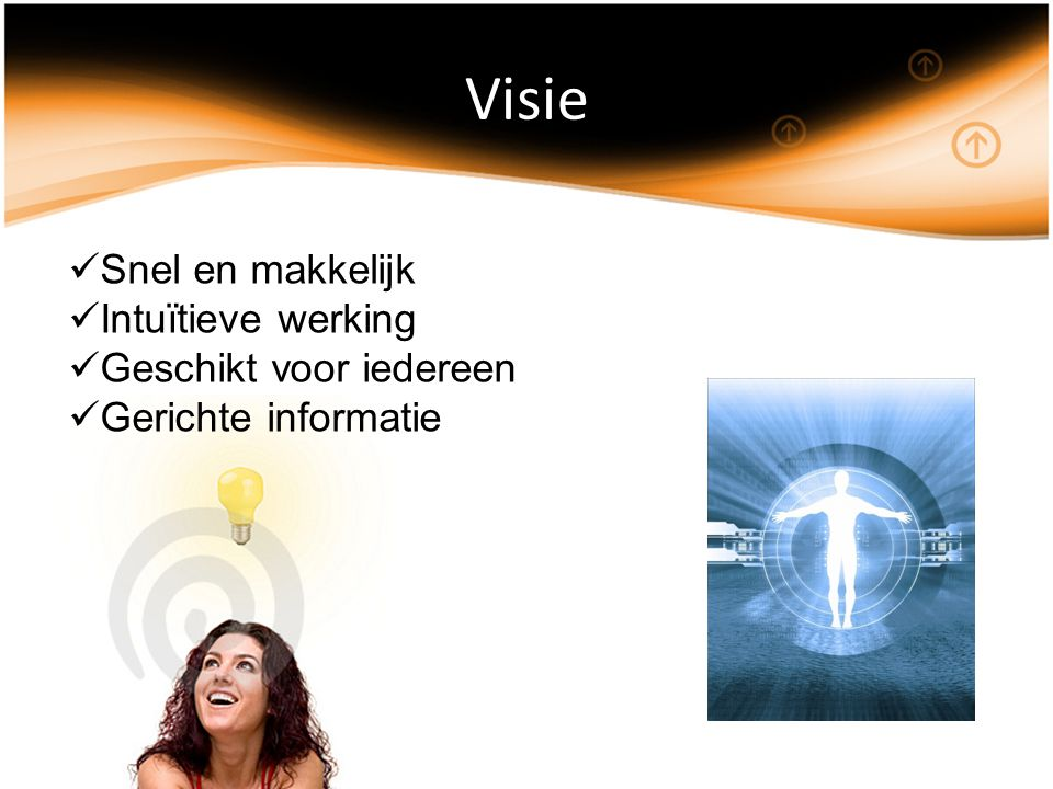 Visie Snel en makkelijk Intuïtieve werking Geschikt voor iedereen Gerichte informatie