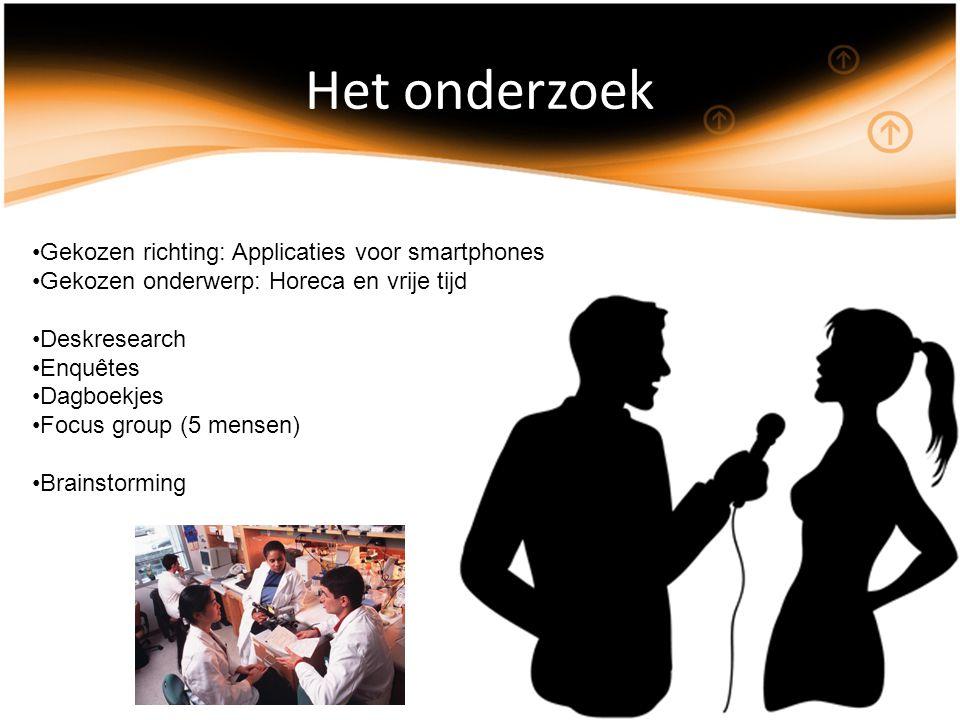Het onderzoek Gekozen richting: Applicaties voor smartphones Gekozen onderwerp: Horeca en vrije tijd Deskresearch Enquêtes Dagboekjes Focus group (5 mensen) Brainstorming