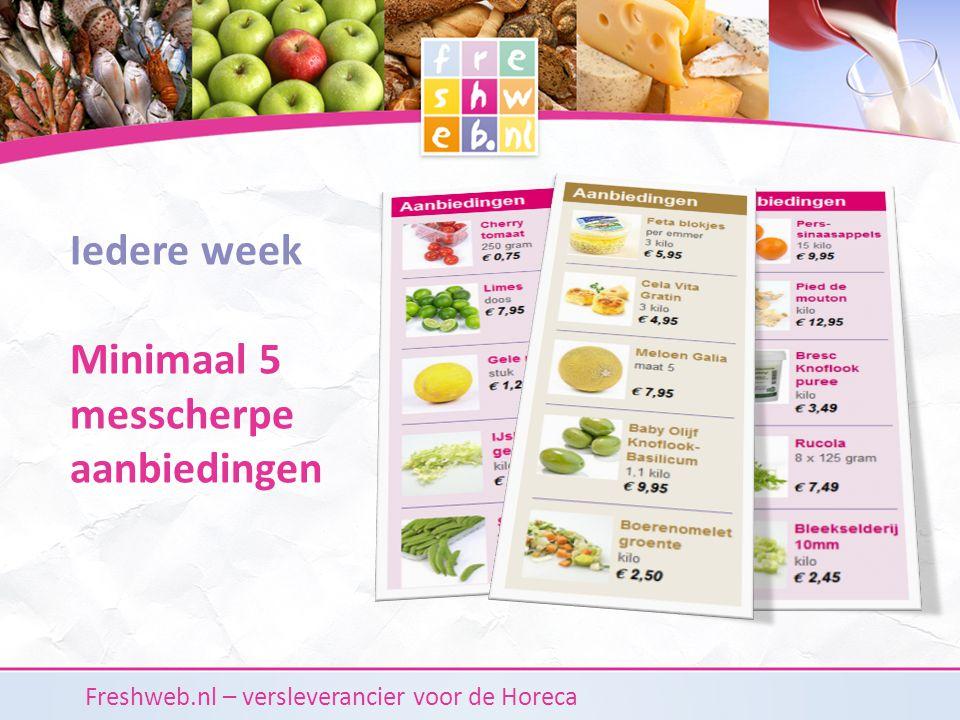 Freshweb.nl – versleverancier voor de Horeca Iedere week Minimaal 5 messcherpe aanbiedingen