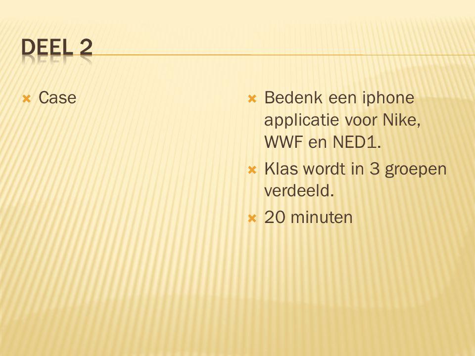  Case  Bedenk een iphone applicatie voor Nike, WWF en NED1.  Klas wordt in 3 groepen verdeeld.  20 minuten