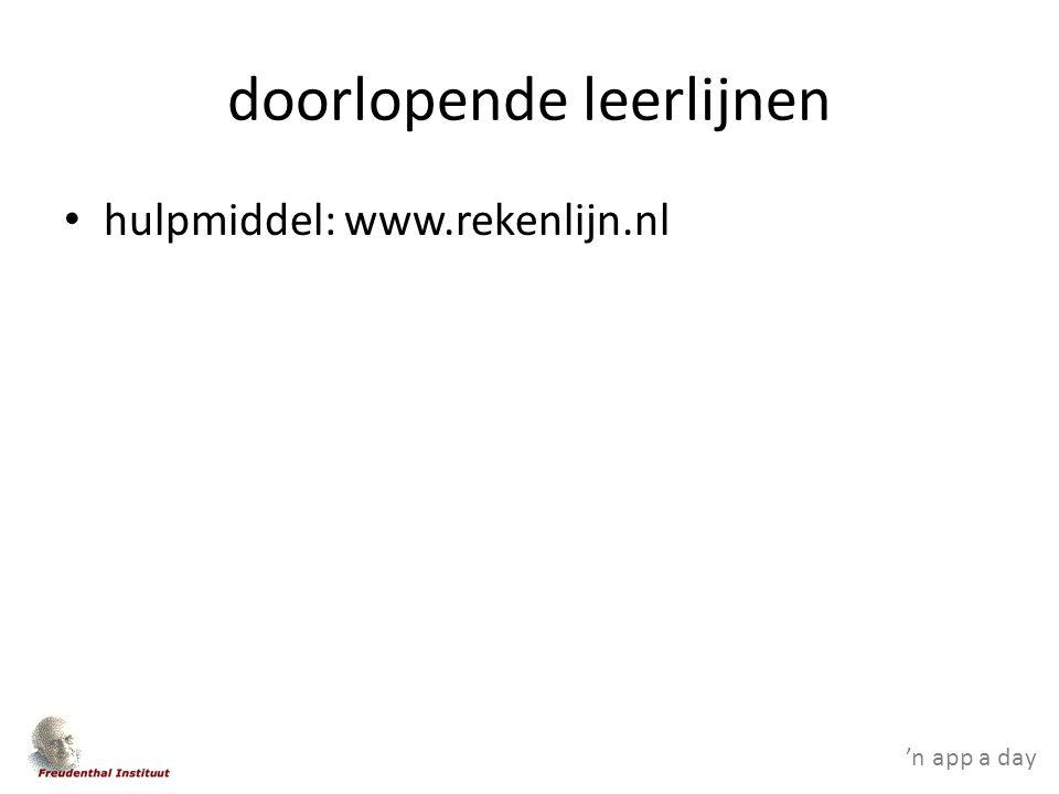 doorlopende leerlijnen hulpmiddel: www.rekenlijn.nl