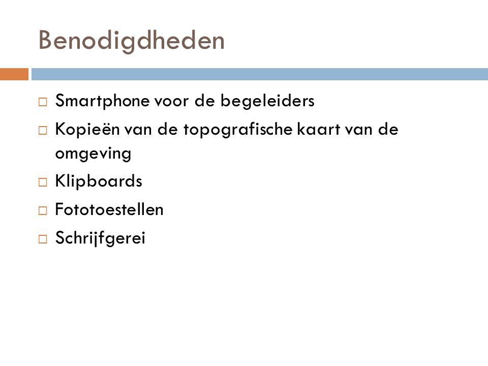 Benodigdheden  Smartphone voor de begeleiders  Kopieën van de topografische kaart van de omgeving  Klipboards  Fototoestellen  Schrijfgerei