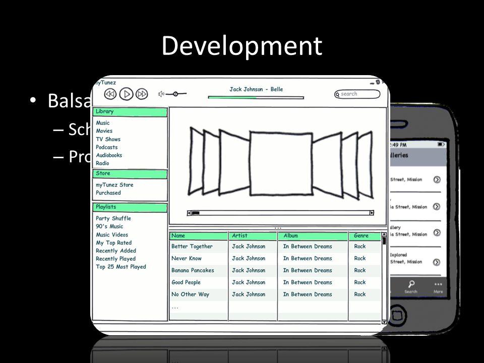 Development Balsamiq – Schets werking van applicatie – Program flow