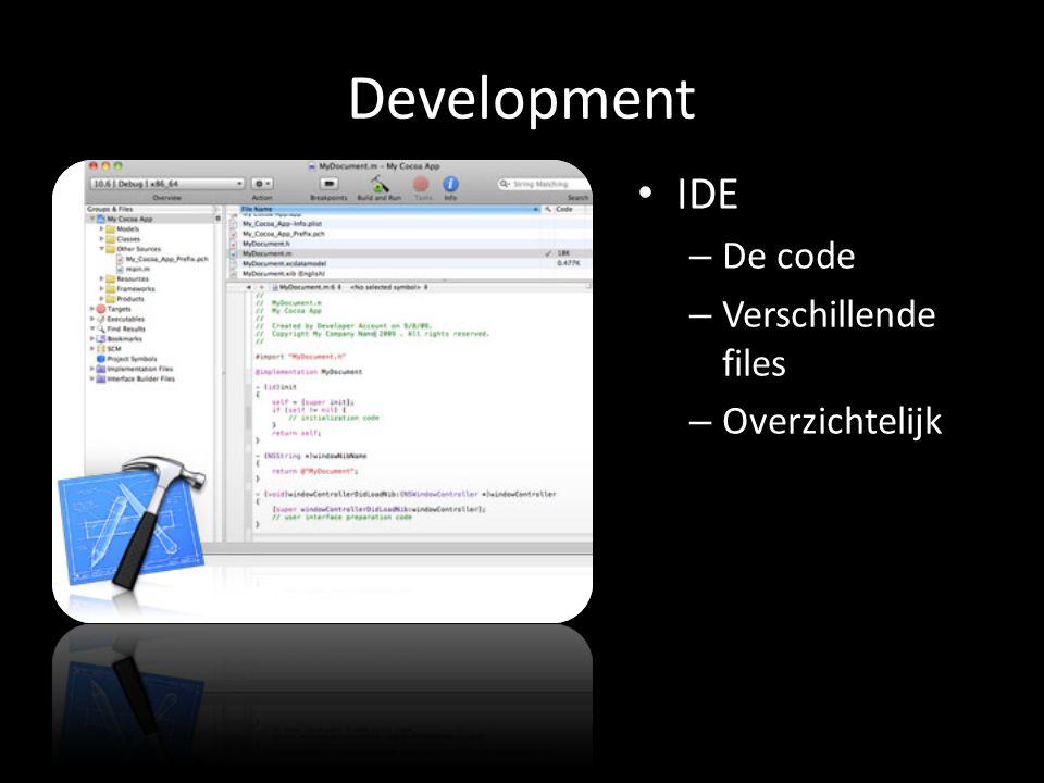 Development IDE – De code – Verschillende files – Overzichtelijk