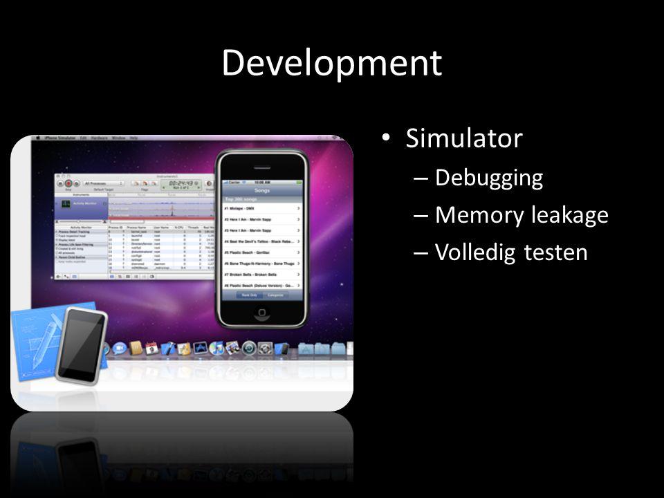 Development Simulator – Debugging – Memory leakage – Volledig testen