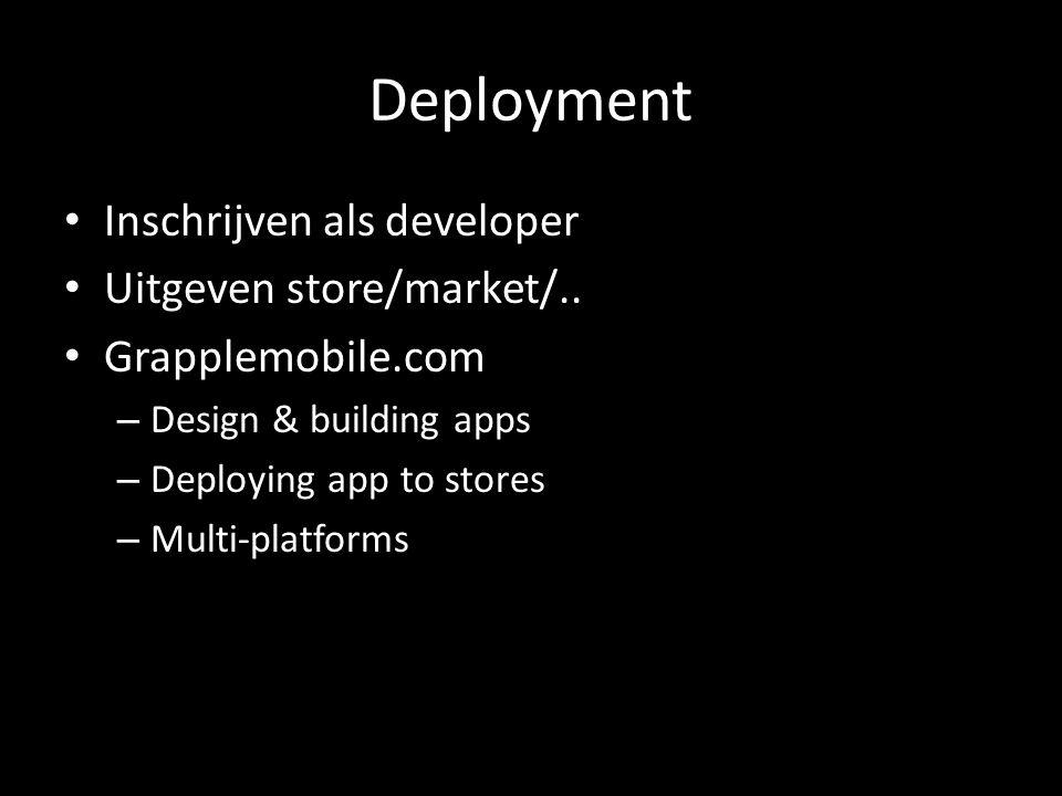 Deployment Inschrijven als developer Uitgeven store/market/.. Grapplemobile.com – Design & building apps – Deploying app to stores – Multi-platforms