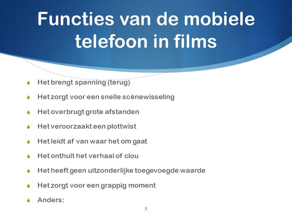 Functies van de mobiele telefoon in films  Het brengt spanning (terug)  Het zorgt voor een snelle scènewisseling  Het overbrugt grote afstanden  H