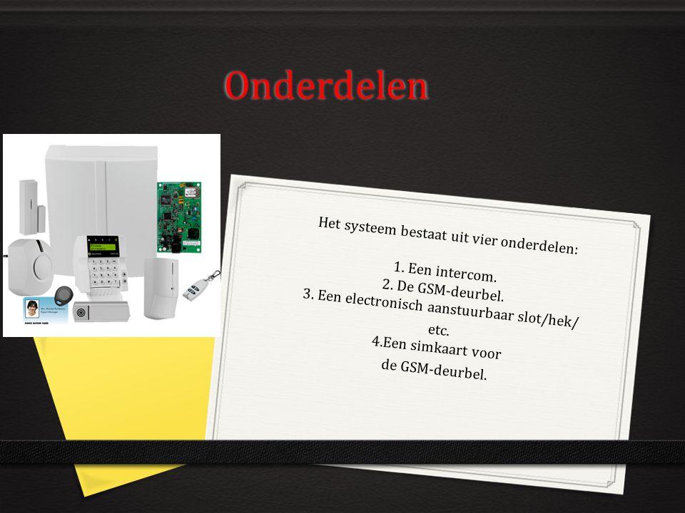 Onderdelen Het systeem bestaat uit vier onderdelen: 1. Een intercom. 2. De GSM-deurbel. 3. Een electronisch aanstuurbaar slot/hek/ etc. 4.Een simkaart