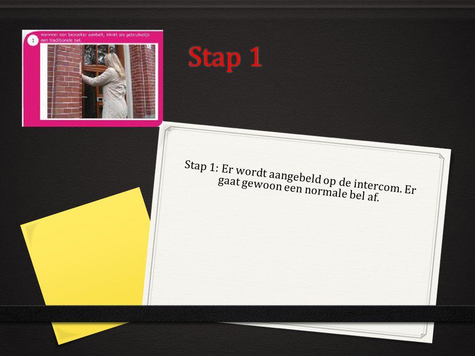 Stap 1 Stap 1: Er wordt aangebeld op de intercom. Er gaat gewoon een normale bel af.