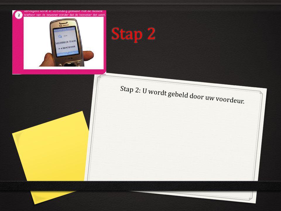 Stap 2 Stap 2: U wordt gebeld door uw voordeur.