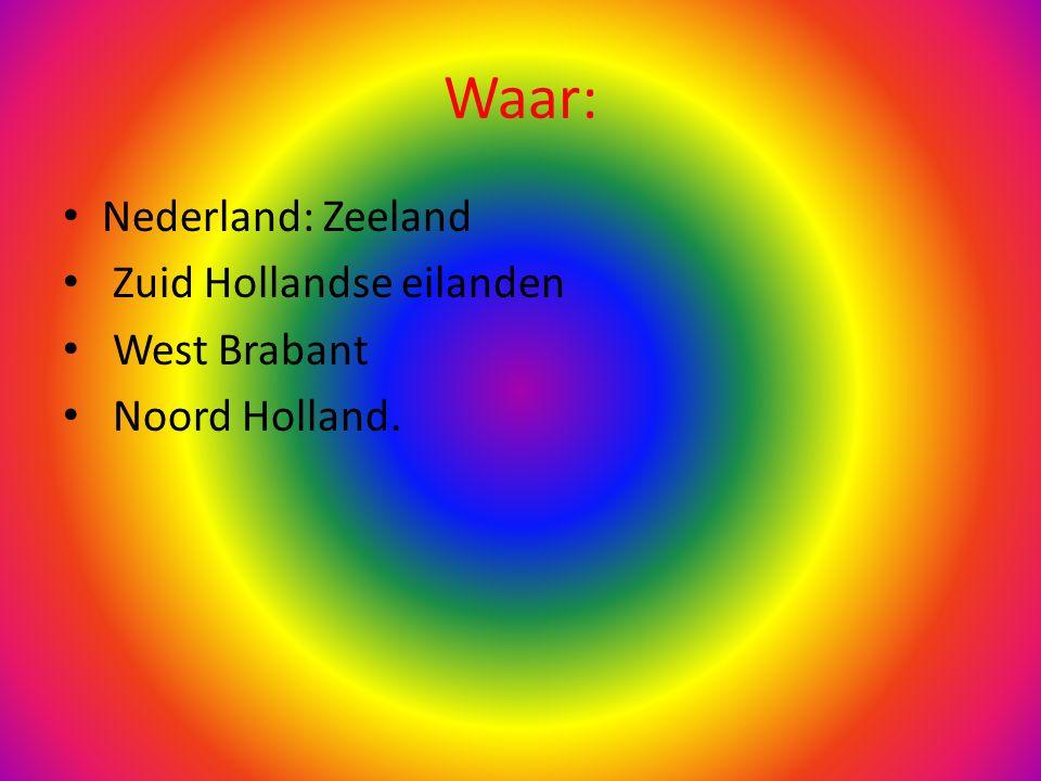 Waar: Nederland: Zeeland Zuid Hollandse eilanden West Brabant Noord Holland.