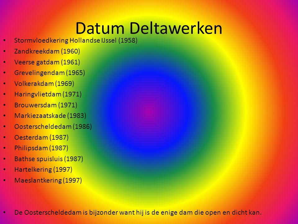 Datum Deltawerken Stormvloedkering Hollandse IJssel (1958) Zandkreekdam (1960) Veerse gatdam (1961) Grevelingendam (1965) Volkerakdam (1969) Haringvlietdam (1971) Brouwersdam (1971) Markiezaatskade (1983) Oosterscheldedam (1986) Oesterdam (1987) Philipsdam (1987) Bathse spuisluis (1987) Hartelkering (1997) Maeslantkering (1997) De Oosterscheldedam is bijzonder want hij is de enige dam die open en dicht kan.