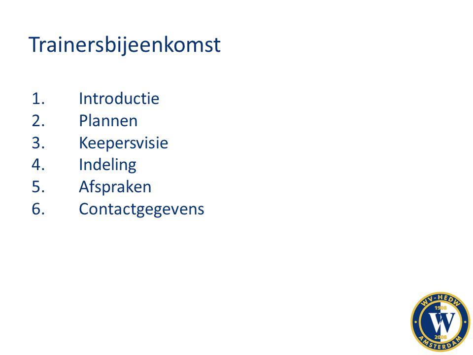 Trainersbijeenkomst 1.Introductie 2.Plannen 3.Keepersvisie 4.Indeling 5.Afspraken 6.Contactgegevens