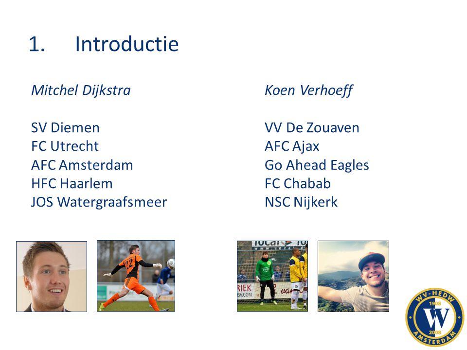 1.Introductie Mitchel DijkstraKoen Verhoeff SV DiemenVV De Zouaven FC UtrechtAFC Ajax AFC AmsterdamGo Ahead Eagles HFC HaarlemFC Chabab JOS Watergraaf