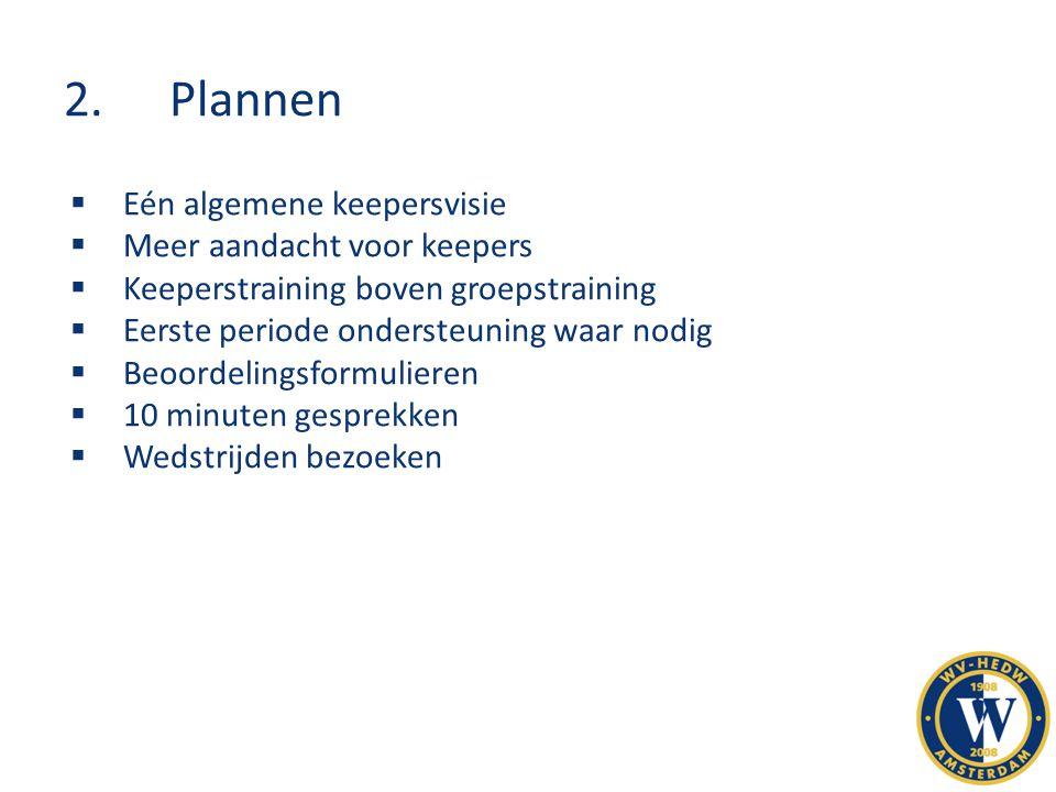 2.Plannen  Eén algemene keepersvisie  Meer aandacht voor keepers  Keeperstraining boven groepstraining  Eerste periode ondersteuning waar nodig 