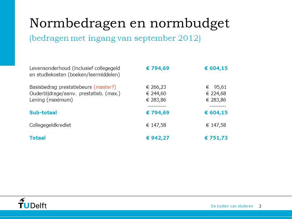 3 De kosten van studeren Normbedragen en normbudget Levensonderhoud (inclusief collegegeld € 794,69 € 604,15 en studiekosten (boeken/leermiddelen) Bas