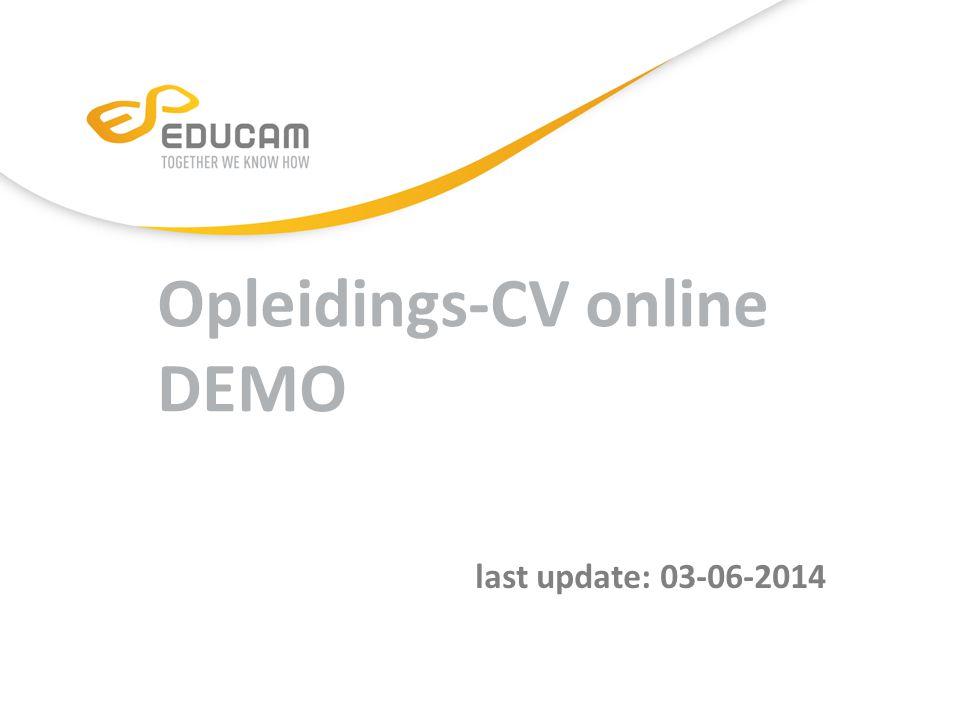 Opleidings-CV online DEMO last update: 03-06-2014