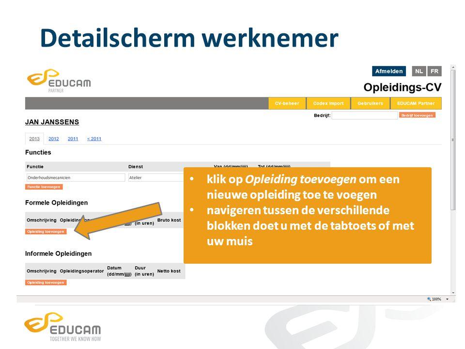 Detailscherm werknemer de gegevens worden automatisch in het juiste jaar geplaatst klik onderaan de pagina op Wijzigingen bewaren om de gegevens te bewaren