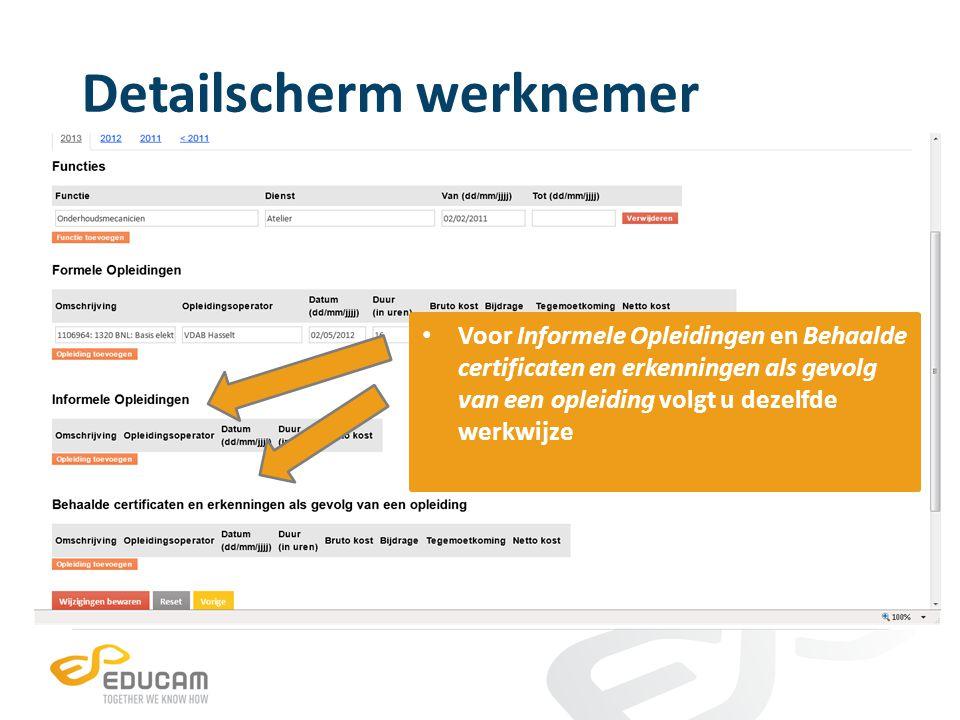 Detailscherm werknemer per werknemer kan u een apart opleidings-CV downloaden in pdf- of excelformaat en dit zowel in het Nederlands als het Frans klik op de specifieke knop om uw exemplaar te downloaden