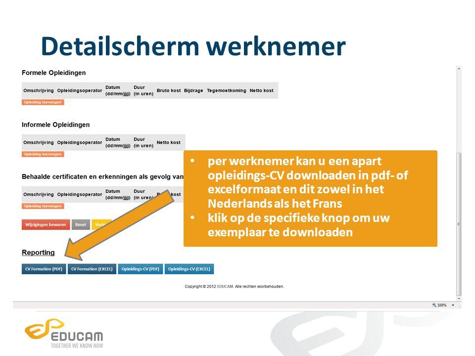 Detailscherm werknemer per werknemer kan u een apart opleidings-CV downloaden in pdf- of excelformaat en dit zowel in het Nederlands als het Frans kli