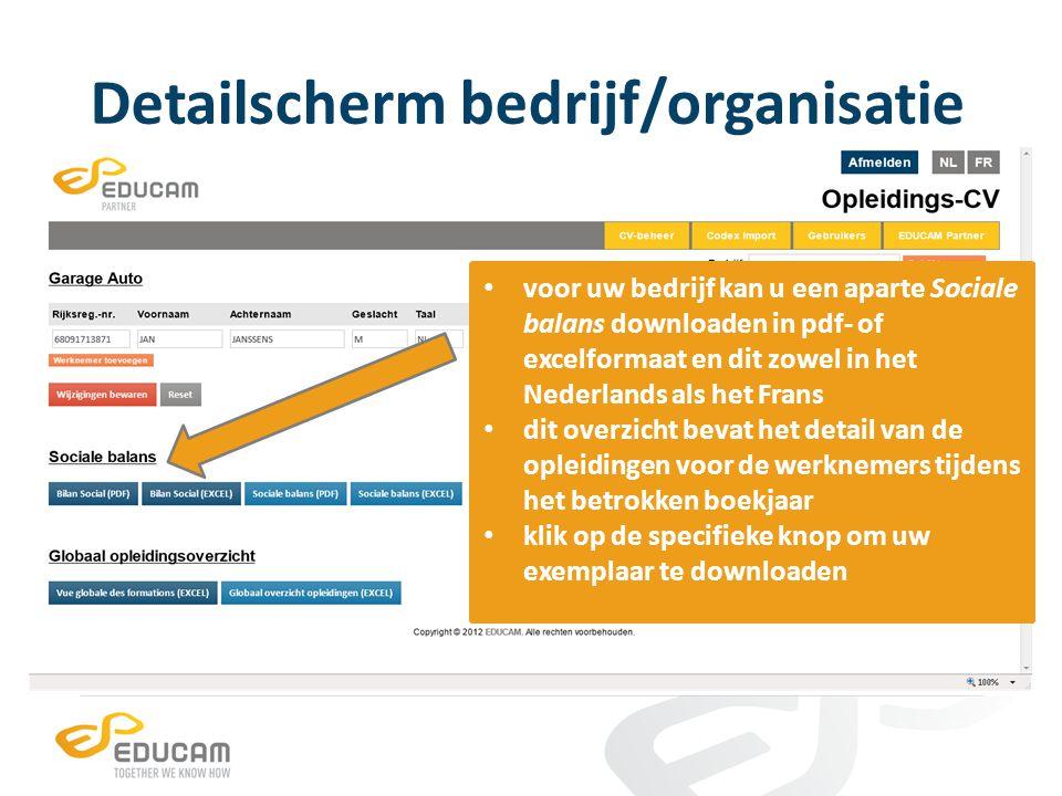 Detailscherm bedrijf/organisatie voor uw bedrijf kan u een apart Globaal opleidingsoverzicht downloaden in excelformaat en dit zowel in het Nederlands als het Frans dit overzicht bevat alle functies en opleidingen van de werknemers in uw bedrijf/organisatie klik op de specifieke knop om uw exemplaar te downloaden
