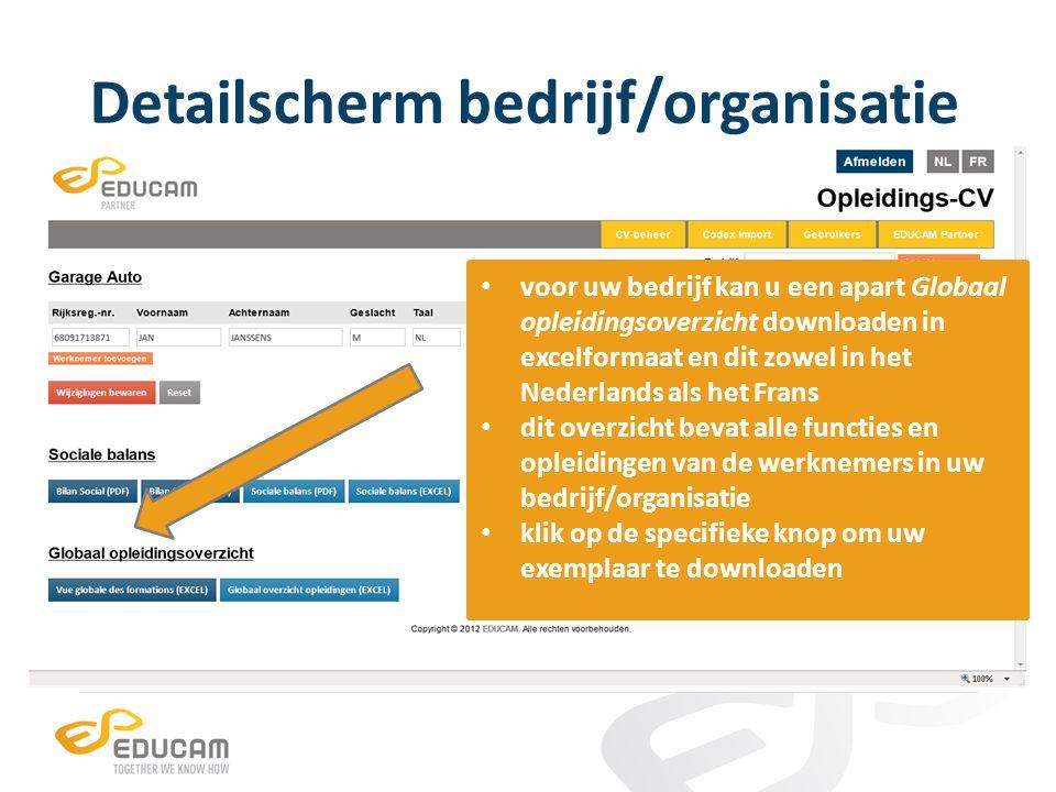 Detailscherm bedrijf/organisatie voor uw bedrijf kan u een apart Globaal opleidingsoverzicht downloaden in excelformaat en dit zowel in het Nederlands