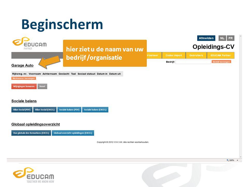 Detailscherm bedrijf/organisatie per werknemer is één regel voorzien werknemers die gekend staan bij EDUCAM, zijn vooraf ingevuld klik op de oranje knop Werknemer toevoegen om een nieuwe werknemer toe te voegen