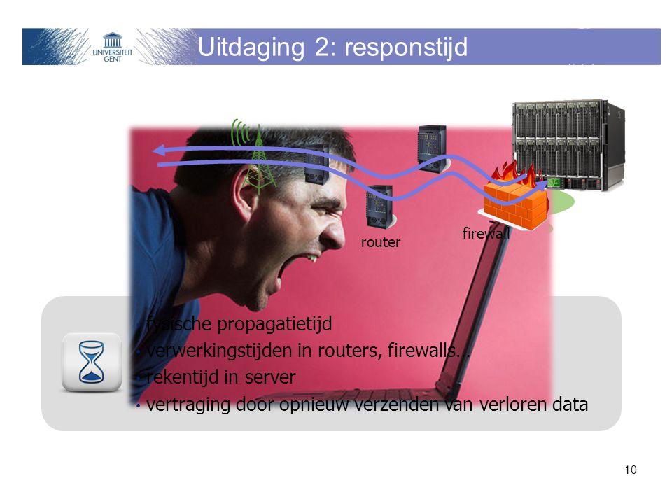 Uitdaging 2: responstijd fysische propagatietijd verwerkingstijden in routers, firewalls… rekentijd in server vertraging door opnieuw verzenden van verloren data 10 router firewall