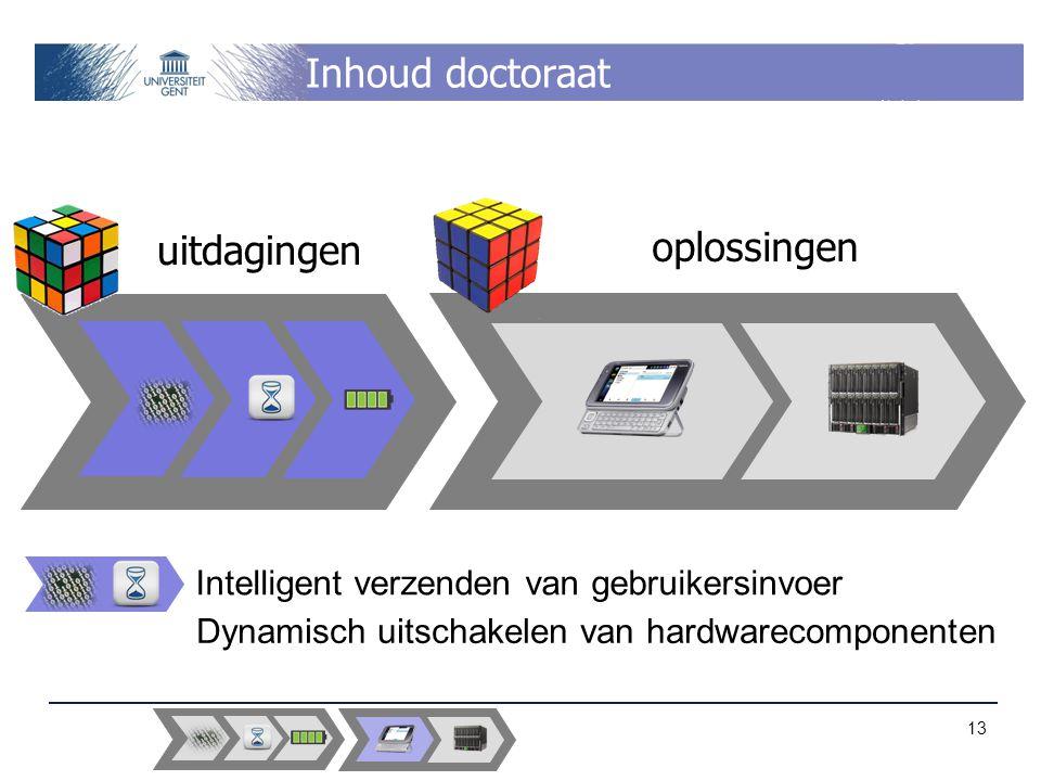 Inhoud doctoraat uitdagingen oplossingen Intelligent verzenden van gebruikersinvoer Dynamisch uitschakelen van hardwarecomponenten 13
