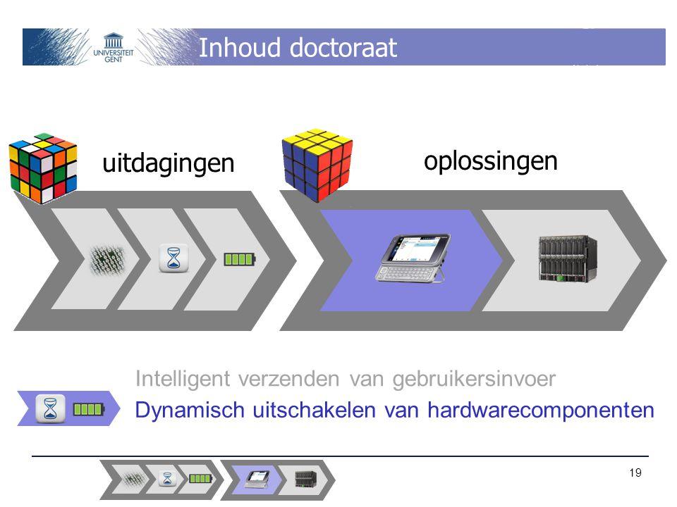 Inhoud doctoraat uitdagingen oplossingen Intelligent verzenden van gebruikersinvoer Dynamisch uitschakelen van hardwarecomponenten 19