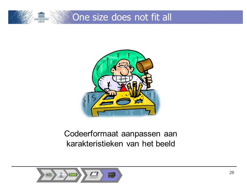 One size does not fit all 26 Codeerformaat aanpassen aan karakteristieken van het beeld