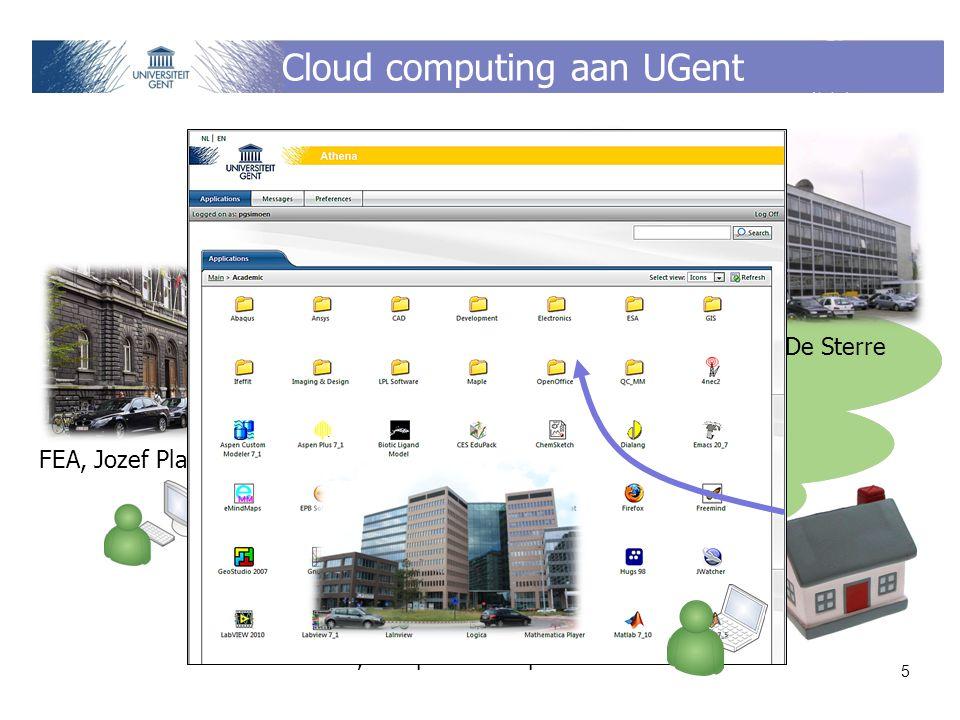 Cloud computing aan UGent 5 DICT, campus De Sterre FEA, Jozef Plateaustraat IBCN, campus Zuiderpoort