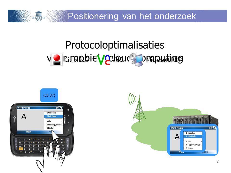 Positionering van het onderzoek Protocoloptimalisaties voor mobielecloud computing A A A (25,37) 7 Citrix ICA VNC Microsoft RDP