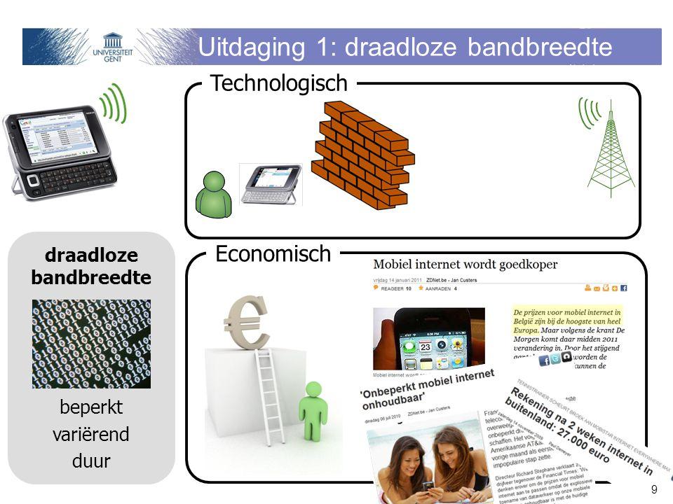 Uitdaging 1: draadloze bandbreedte draadloze bandbreedte beperkt variërend duur Economisch Technologisch 9