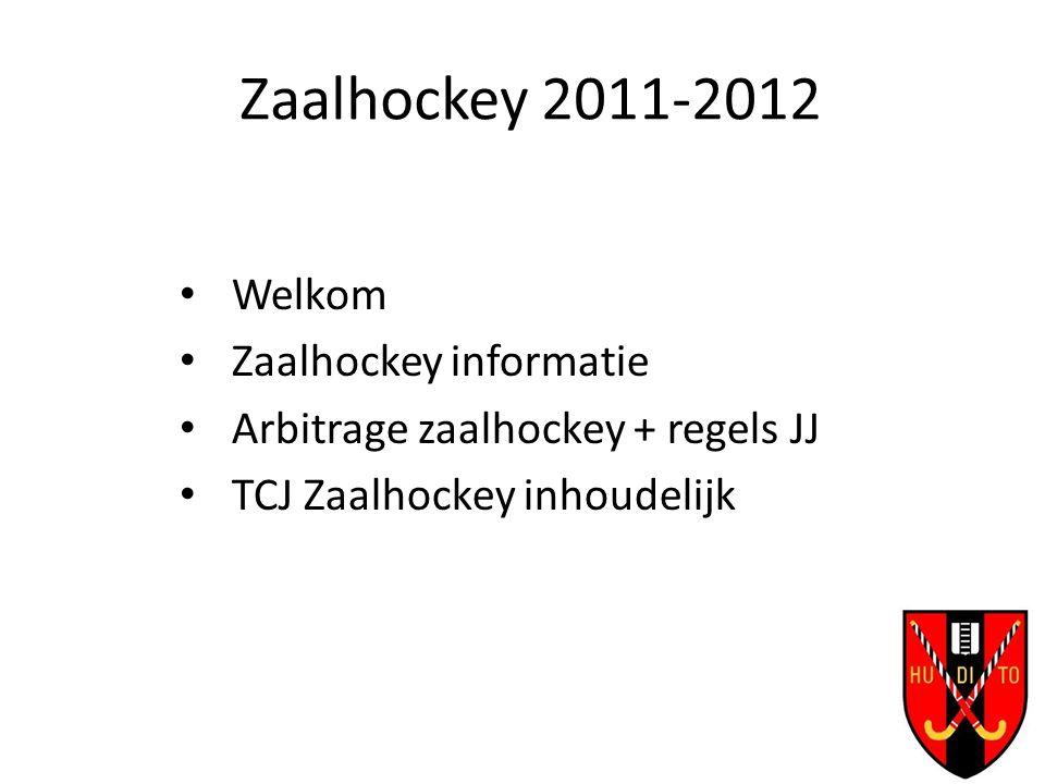 Zaalhockey 2011-2012 Welkom Zaalhockey informatie Arbitrage zaalhockey + regels JJ TCJ Zaalhockey inhoudelijk