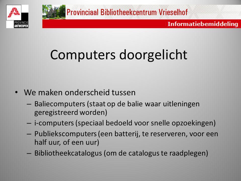 Computers doorgelicht We maken onderscheid tussen – Baliecomputers (staat op de balie waar uitleningen geregistreerd worden) – i-computers (speciaal b