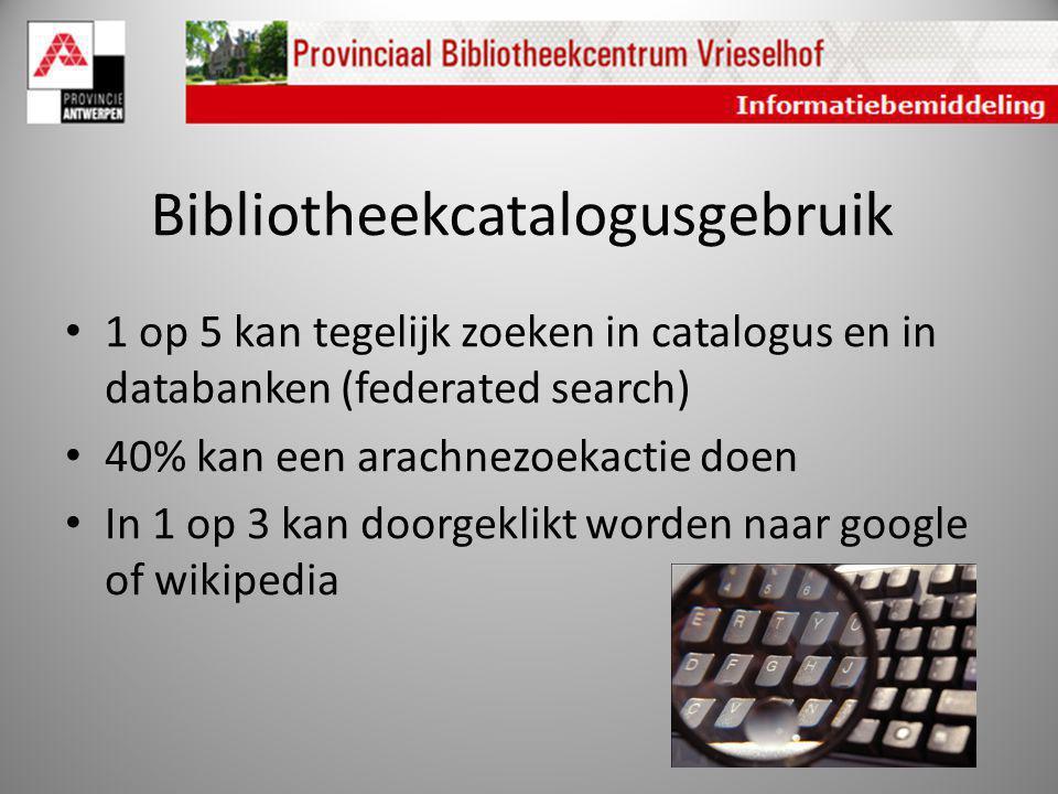 Bibliotheekcatalogusgebruik 1 op 5 kan tegelijk zoeken in catalogus en in databanken (federated search) 40% kan een arachnezoekactie doen In 1 op 3 ka