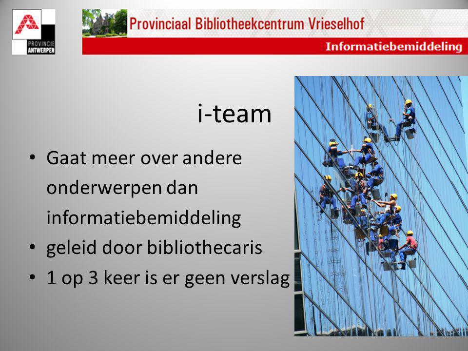 i-team Gaat meer over andere onderwerpen dan informatiebemiddeling geleid door bibliothecaris 1 op 3 keer is er geen verslag