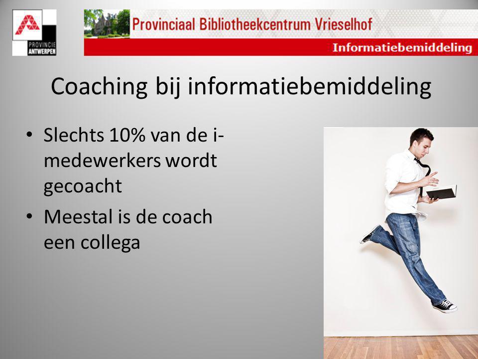 Coaching bij informatiebemiddeling Slechts 10% van de i- medewerkers wordt gecoacht Meestal is de coach een collega