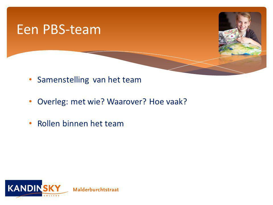 Samenstelling van het team Overleg: met wie? Waarover? Hoe vaak? Rollen binnen het team Een PBS-team