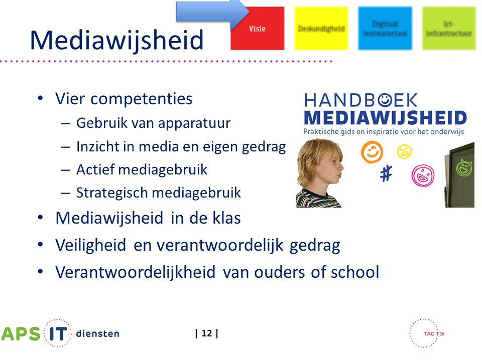 | 12 | Mediawijsheid Vier competenties – Gebruik van apparatuur – Inzicht in media en eigen gedrag – Actief mediagebruik – Strategisch mediagebruik Me