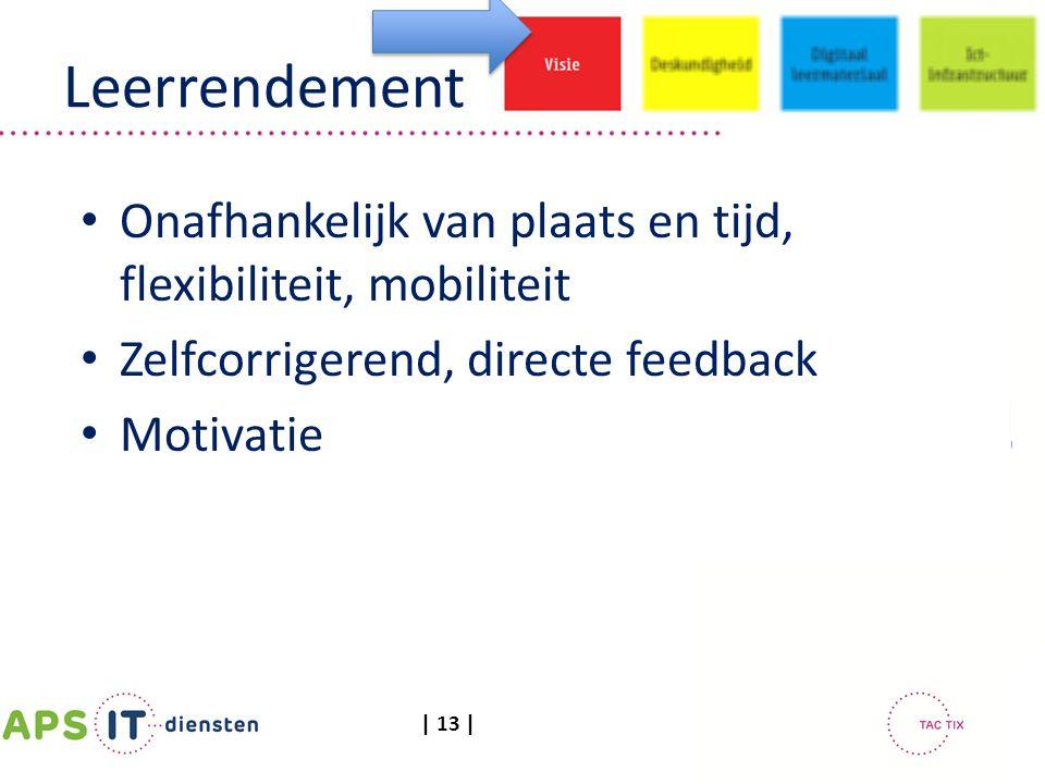 | 13 | Leerrendement Onafhankelijk van plaats en tijd, flexibiliteit, mobiliteit Zelfcorrigerend, directe feedback Motivatie
