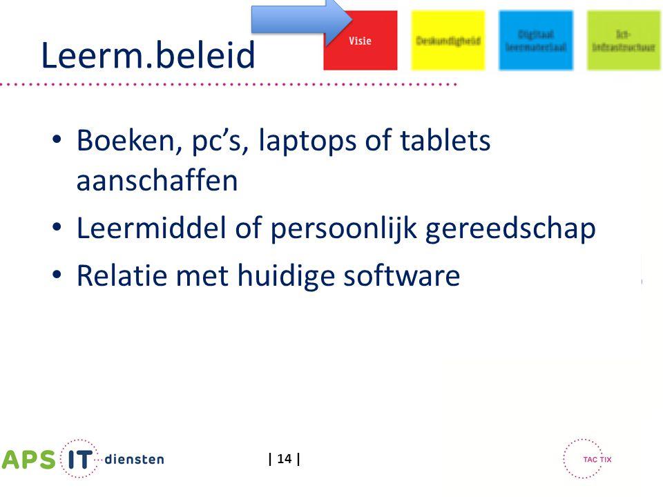 | 14 | Leerm.beleid Boeken, pc's, laptops of tablets aanschaffen Leermiddel of persoonlijk gereedschap Relatie met huidige software